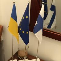 Ukraine, EU, Finland flags